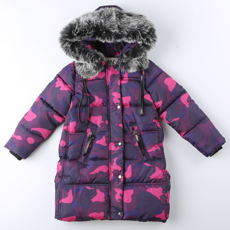 New Russian Winter Thick Warm Baby Girls Winter Children Cotton Down Coats Camouflage Jacket Fur Hood Child Parkas Winter Jacket free shipping new brand mens charge garments multifunction jacket winter warm thicker cotton parkas sales