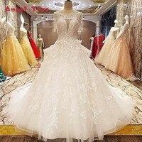 Princess Style Wedding Dress Beads Crystal Ball Dress O Neck Short Sleeve Lace Wedding Dresses For