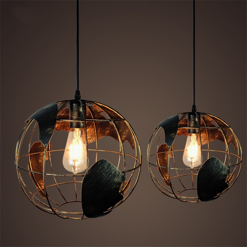 E27 Retro Iron Creative Counter Pendant Lamp Western Personalized aisle Globe Pendant Light for Restaurant Coffee bar Bedroom light the mediterranean restaurant in front of the hotel cafe bar small aisle entrance hall creative pendant light df57