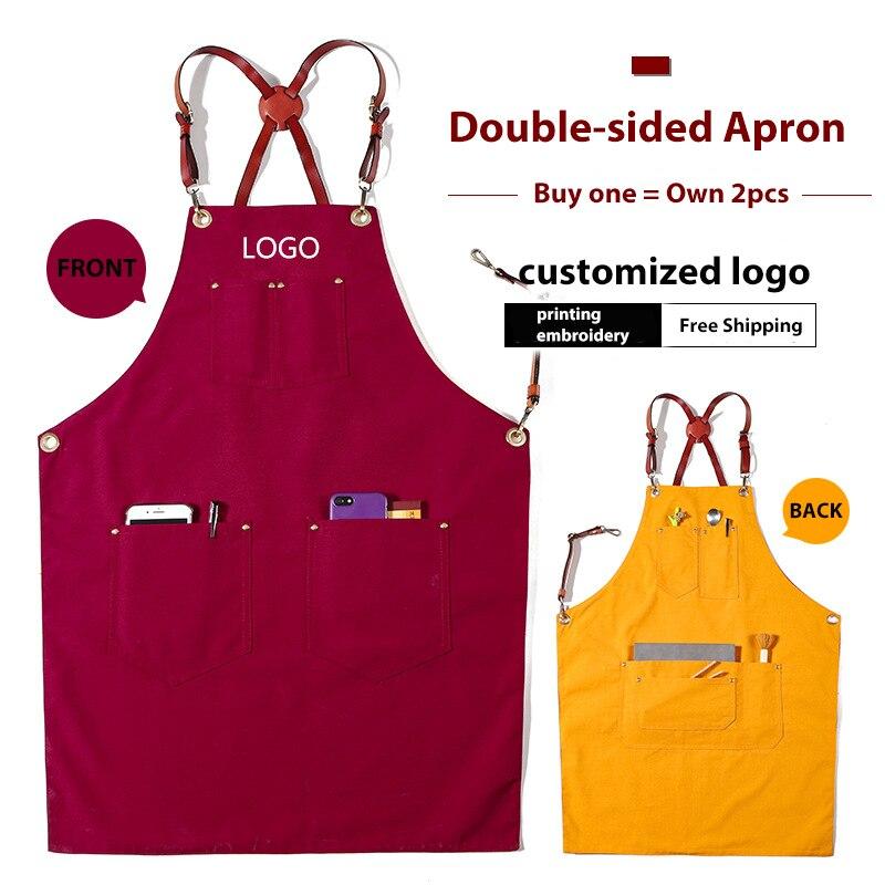 Denim Cowboy BBQ Apron Bib Leather Straps Kitchen Apron for Women Men Barber Cooking Restaurant Waitress