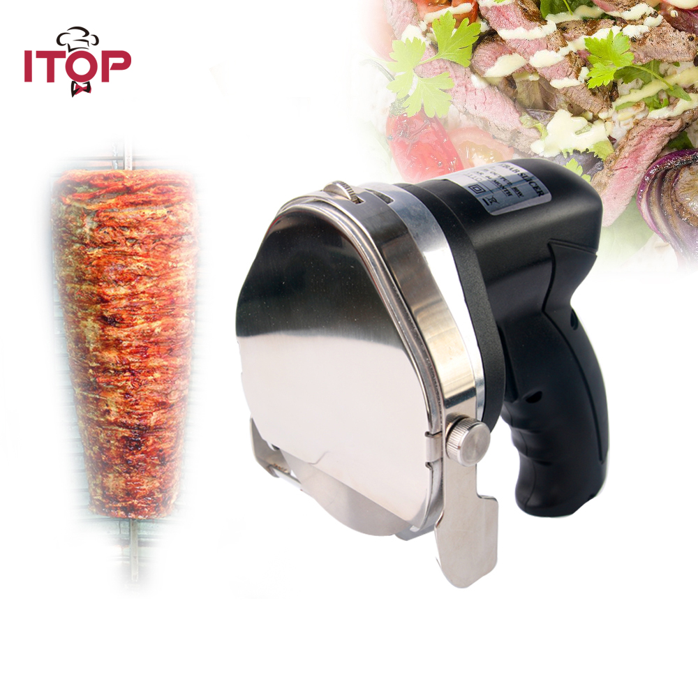 ITOP Kebab Slicer electric shawarma slicer Gyros Meat Slicer Cutting Machine Kitchen Knife Extra Blade 110/220/240V 1pc hot sale 100%quality guaranteed doner kebab slicer two blades electrical kebab knife kebab shawarma gyros cutter