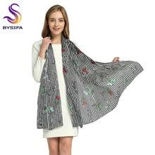 New Spring Silk Scarf Shawl Women Fashion Brand Black White Striped Pattern  Long Scarves Summer Large 91a9921cab8
