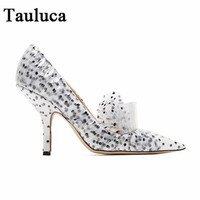 New Styles Women's Europe and The United States Pointed Toe Pumps Polka Dot Lace Fashion High Heels Female White Black Shoes