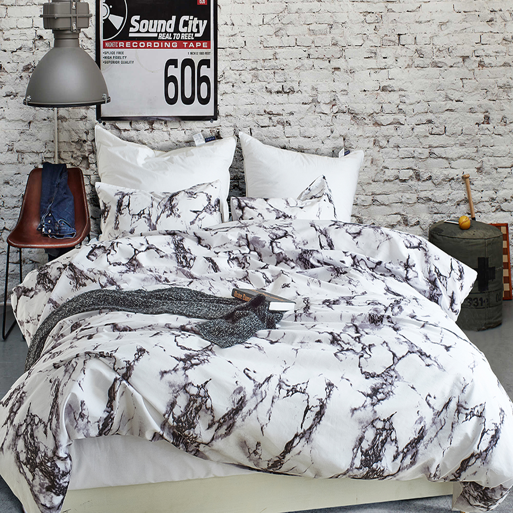 Wongs bedding marble Bedding set simple Duvet Cover With Pillowcases Twin Full Queen King Size Bedclothes 3pcs home textile in Bedding Sets from Home Garden