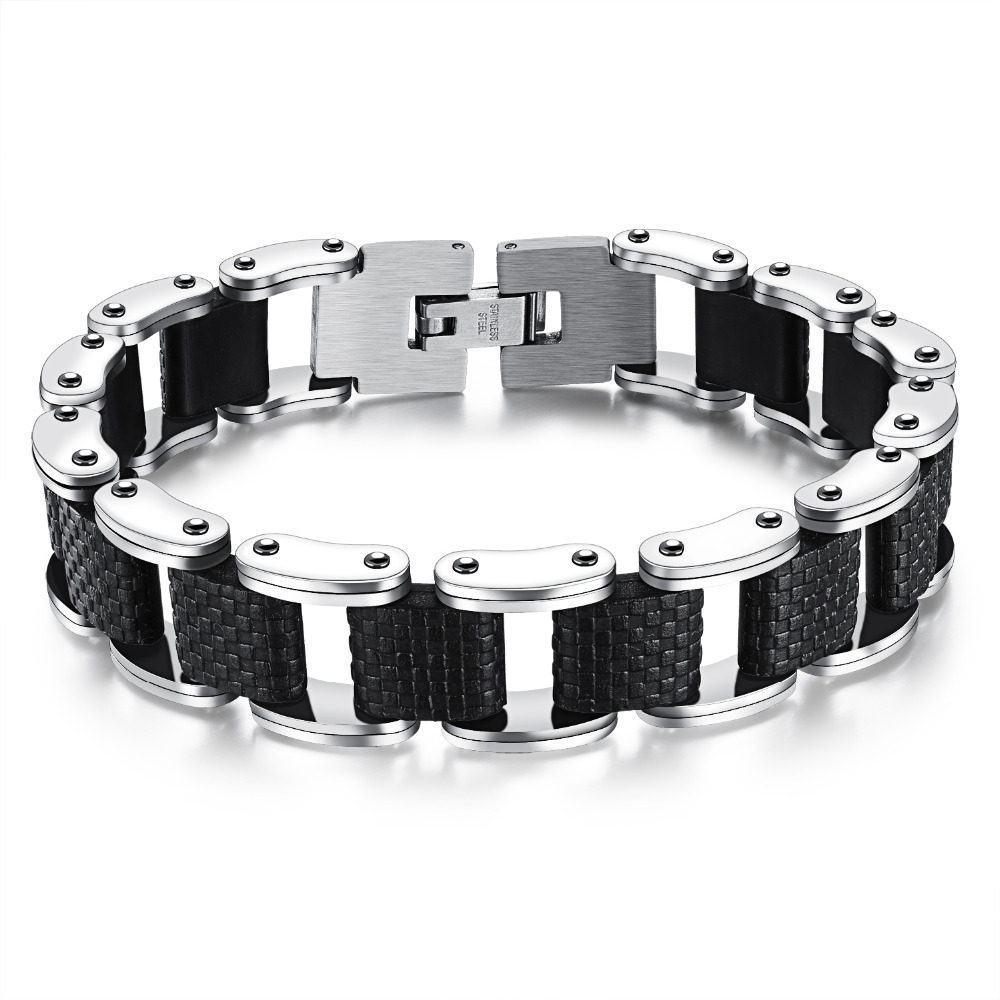 New Fashion Men's Male Stainless Steel Silicone Stripe Chain Link Bracelets Black Bangle Jewelry Gift 8 @17 TT@88