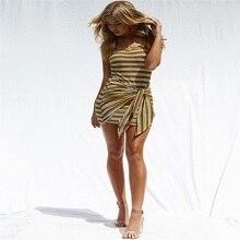 bandage dress fashionable sexy woman condole belt stripe irregular mini Multiple color band halter