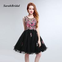 Embroidery Flower Prom Dresses Short 2017 Puffy Party Gowns Floral Black Evening Dresses Couture Vestido De