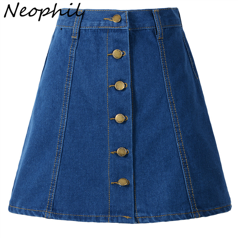 Neophil  Women Denim Mini Skirts High Waist A-Line 2019 Winter Button Pocket XXL Ladies Office Work Wear Slim Jean Saias S1703
