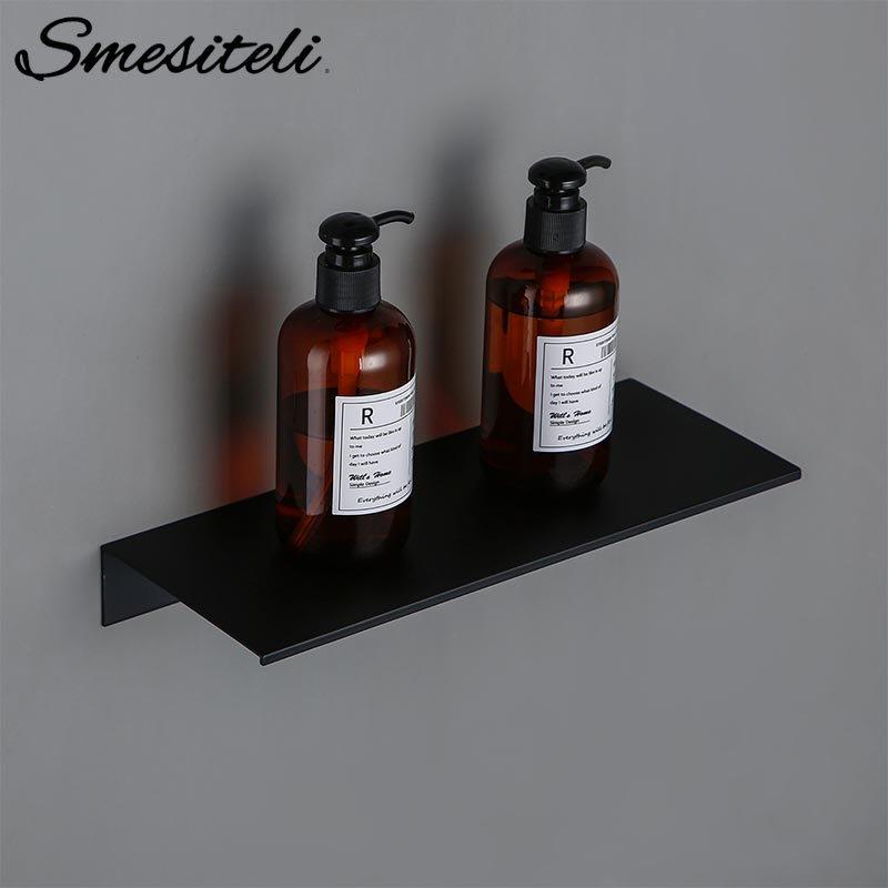 30-60CM Black Kitchen Aluminium Bathroom Shelves Shower Storage Rack Wall Mounted Corner Basket Shampoo Toothbrush Cup Shelf