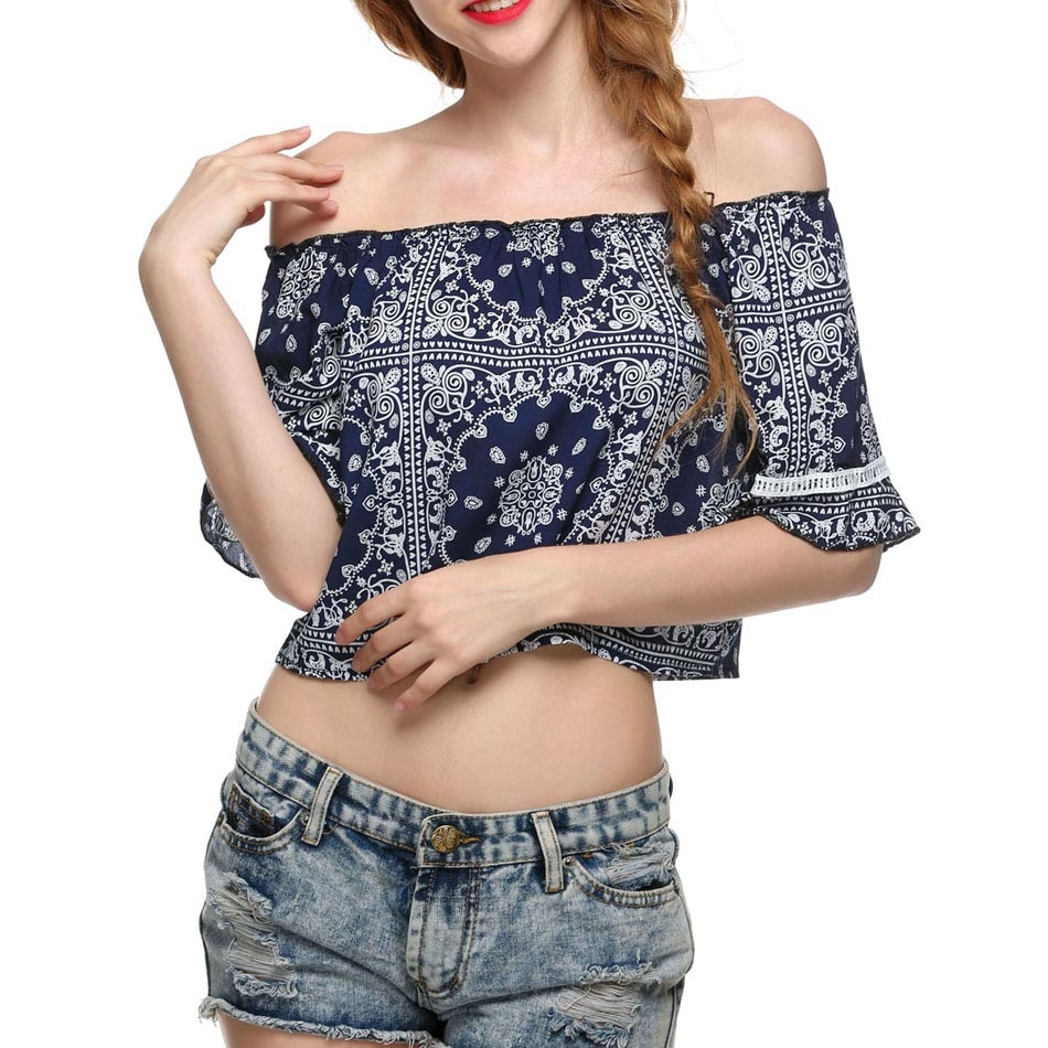 Women Summer Sexy Cold Shoulder Strapless Casual Crop Top
