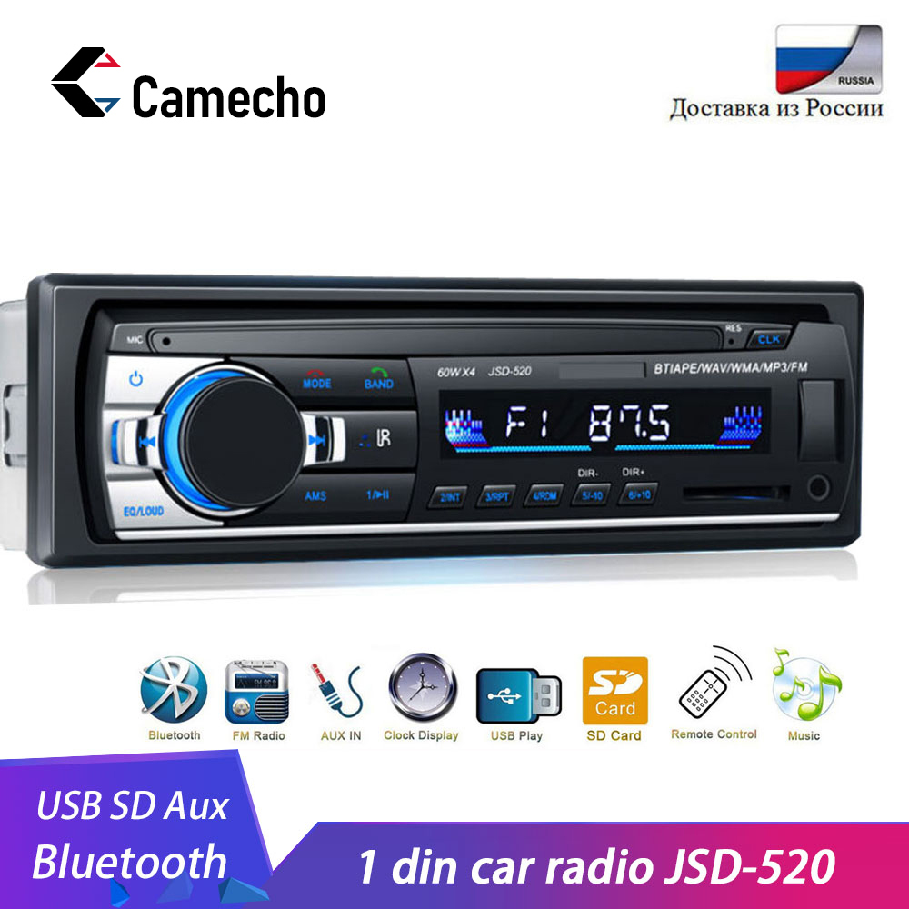 Camecho Radio de Coche Autoradio 1 Din Bluetooth SD MP3 reproductor Multimedia Coche Radio Estéreo Auto Audio estéreo Automotivo USB SD 12V 12V