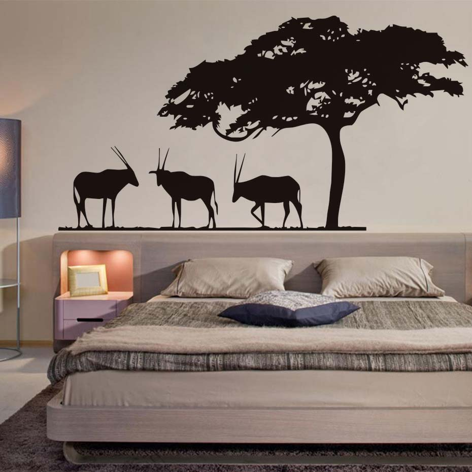 African Safari Antelopes Wall Decals Big Tree Vinyl Art Stickers Waterproof Self Adhesive Wallpaper For Living Room Home Decor-in Wall Stickers from Home ... & African Safari Antelopes Wall Decals Big Tree Vinyl Art Stickers ...
