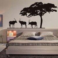 African Safari Antilopi Stickers Murali Grande Albero di Arte Del Vinile Autoadesivi Impermeabili Autoadesivo Carta Da Parati Per Living Room Home Decor