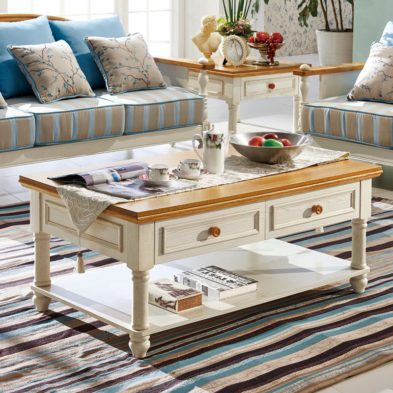 Solid Wood Coffee Table Rectangular Double Small Fresh