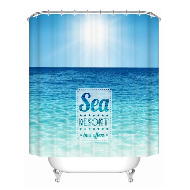 Wholesale Custom Bathroom Curtain Ocean Blue Waterproof Polyester Fabric Shower 180CM Bath