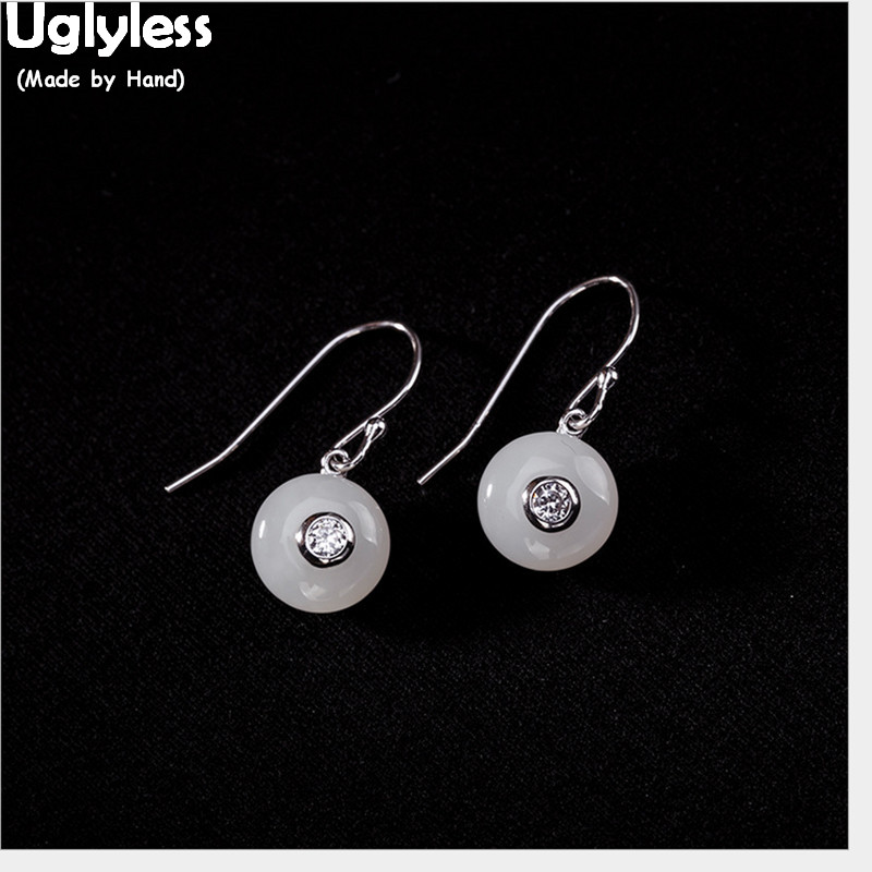 Uglyless Simple Fashion Handmade Round Earrings For Women Genuine Solid 925 Silver Fine Jewelry Natural Jade Earrings Gemstones