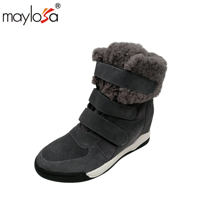 MAYLOSA Women Fur Ankle Boots Women Genuine Leather Winter Snow Boots casual cotton winter boots maylosa summer spring women boots with hole genuine leather feminina casual boots good quality handmade casual lady shoes