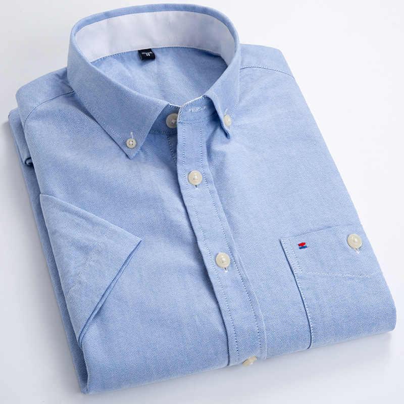 綿 100% メンズ半袖シャツレギュラーフィット固体オックスフォードビジネスシャツ男性ポケット正式なボタンシャツ作業服