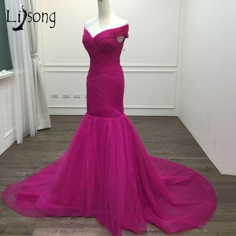 Sexy Fuchsia Long Mermaid Evening Dresses 2018 Hot Pink Pleated Plus