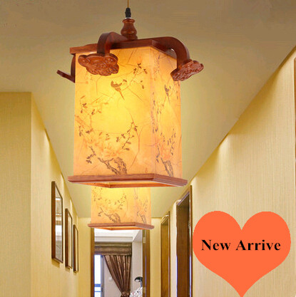 New Chinese spring flowers in full bloom painting Chandelier Coffee  carved wood art E27 lamp for corridor&porch&stairs MYR037