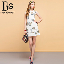 Baogarret New Fashion Designer Summer Vintage Dress Womens Sleeveless Gorgeous Beading Floral Printed Elegant Mini Dresses
