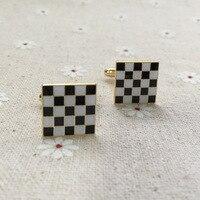15 мм 1 пара свободные масоны черно-белые запонки с изображением ковра масонские масонари диосиновые эмалированные запонки для мужчин