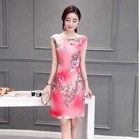 2018 Sleeveless Women Long Dresses Qipao Traditional Modern Silk Dress Chinese Style Elegant Cheongsam Dress Plus
