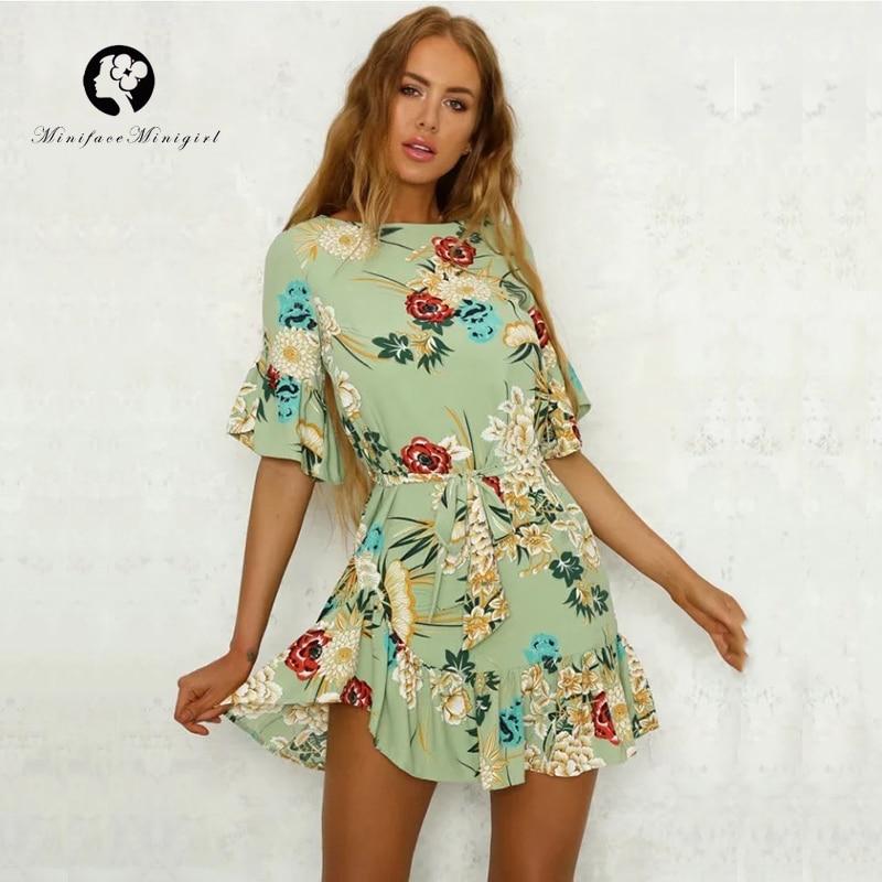 Summer Short Women Green Floral Print Dress O Neck Elegant Casual Ruffles Female Beach Dresses Vestidos Print Mini Dress 2018