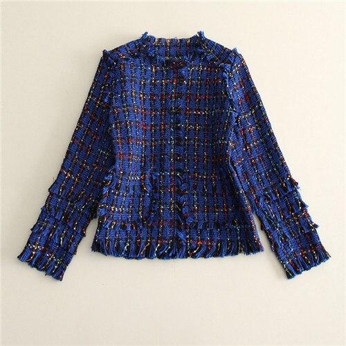 c 2017 new autumn winter spring tweed o-neck tassel short coat high quality women's tweed jackets vintage branded woven coat c стоимость