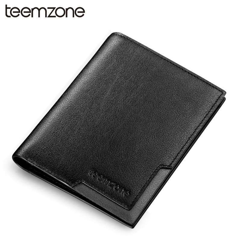 ФОТО teemzone Trend New  Men's  Genuine Leather Slim Bifold Purse  Business Card Holder Purse Credit  Card Wallet Black 2 Size Q472