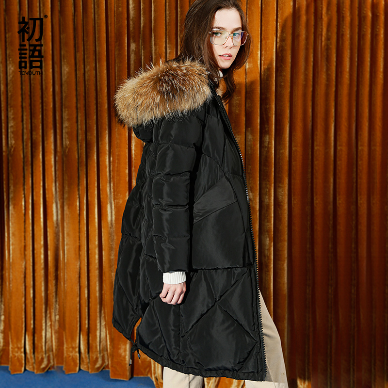 Toyouth Пуховые пальто 2017 осень-зима Модные женские меховой воротник одноцветное Цвет Утепленные длинные Стиль пальто