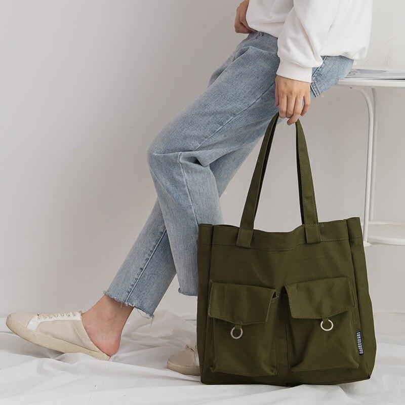 Japanese Mori Girl Vintage Canvas Shoulder Bags Woman Casual Female Solid Shopping Bag Ladies Canvas Tote Bolsas Feminina hanae mori paris vintage юбка винтажная 70e