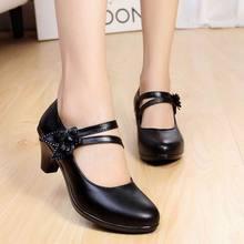 2017 New Fashion Women's Shoes High Heels Comfortable Women Genuine Leather Single Casual Shoes Women Pumps plus size 40 41