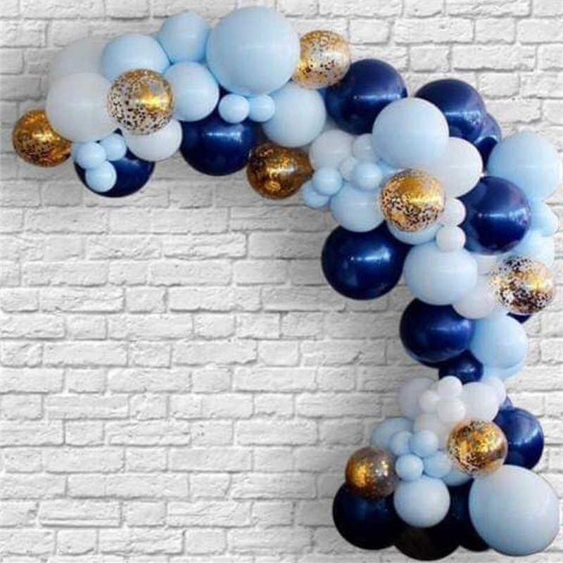 150 pcs ลูกโป่ง Garland Arch สีน้ำเงินสีขาว Confetti ทองหลายสีผสม Air Balls วันเกิดงานแต่งงานตกแต่ง