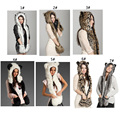 25Pcs Styles Warm Winter Faux Animal Fur Hat Fluffy Plush Cap Dint Hood Scarf Shawl with Gloves Set Leopard Panda Hat Scarf Set