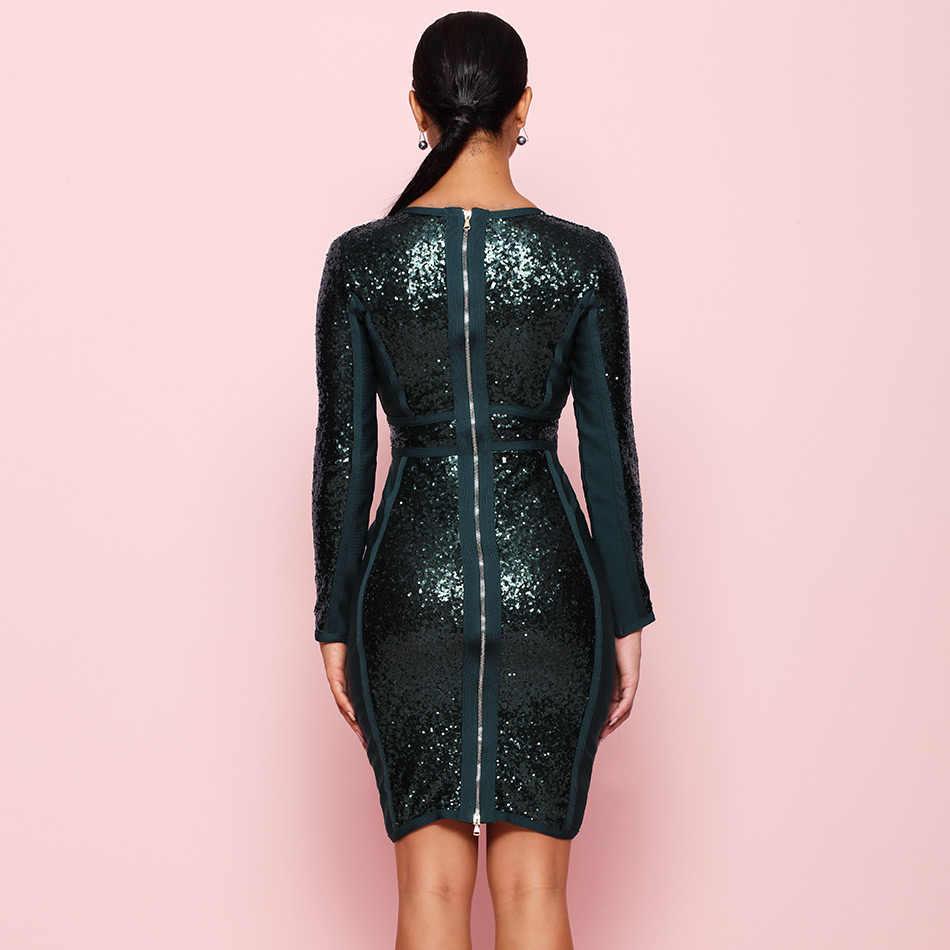 Seamyla באיכות גבוהה סלבריטאים המפלגה שמלה ארוך שרוול Bodycon תחבושת שמלות אביב פאייטים שמלה סקסי V צוואר Vestidos 2019