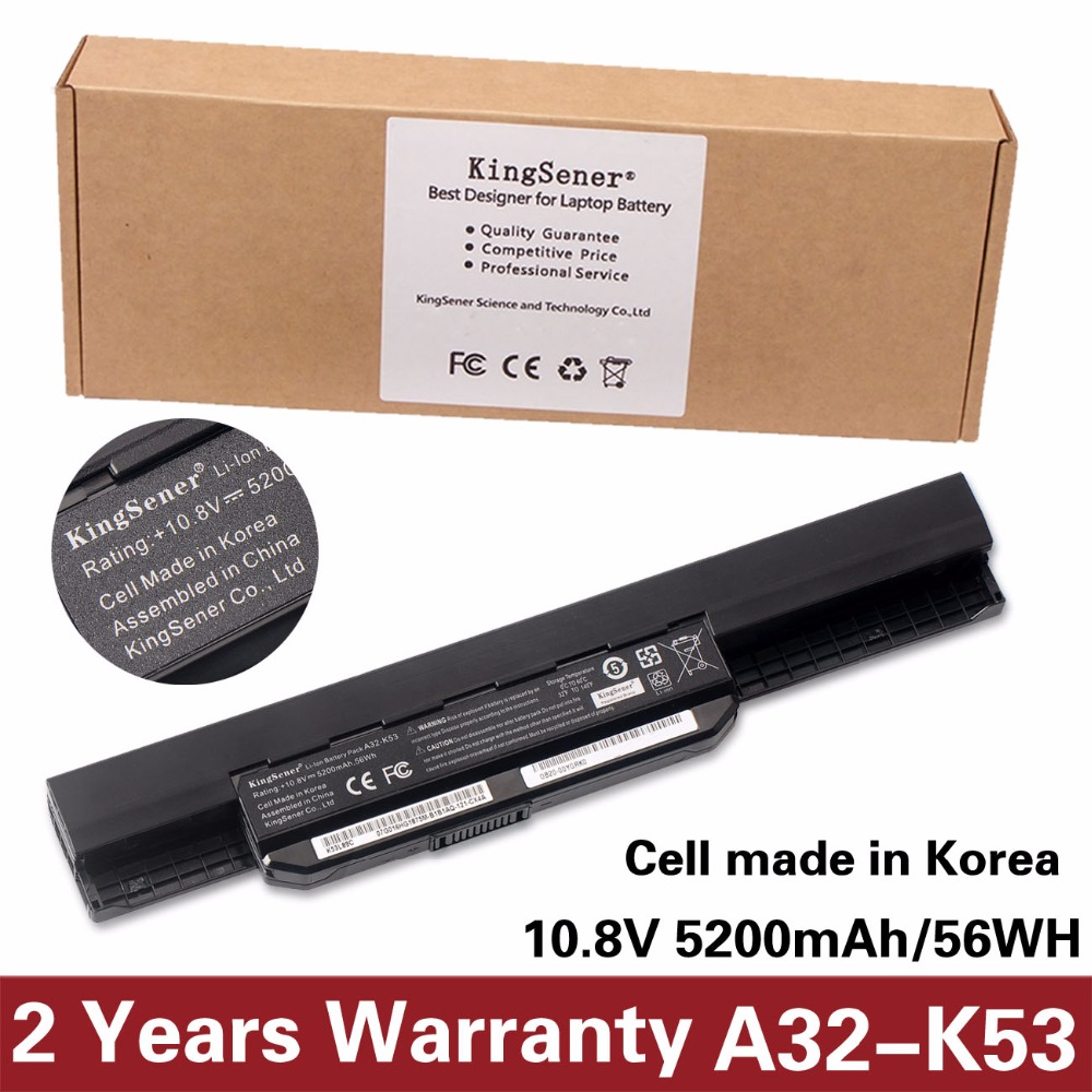 Korea Cell KingSener New A32-K53 Battery for ASUS K43 K43E K43J K43S K43SV K53 K53E K53F K53J K53S K53SV A43 A53S A53SV 5200mAh 1 piece 50pieces 2 5mm 100% new dc power jack for asus k53 k53s k53e k53s k53sv a53z a53s k53sj k53sk port socket connector plug