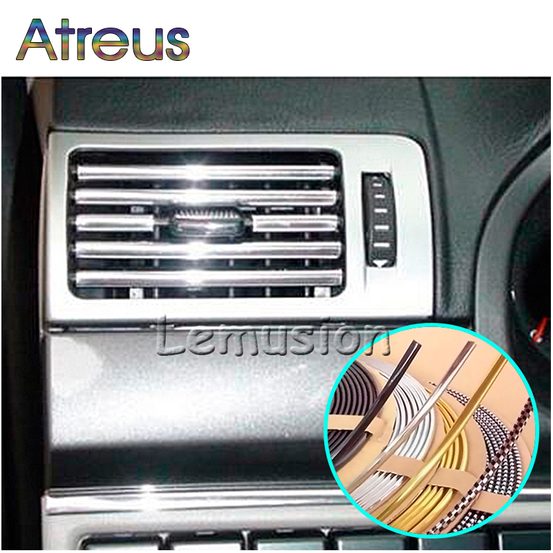 Atreus 3M DIY Car Interior Chrome Decoration Strips For Ford Mondeo 4 Ranger Fusion Volkswagen Polo Passat B5 B6 Golf 5 6 7 MK4