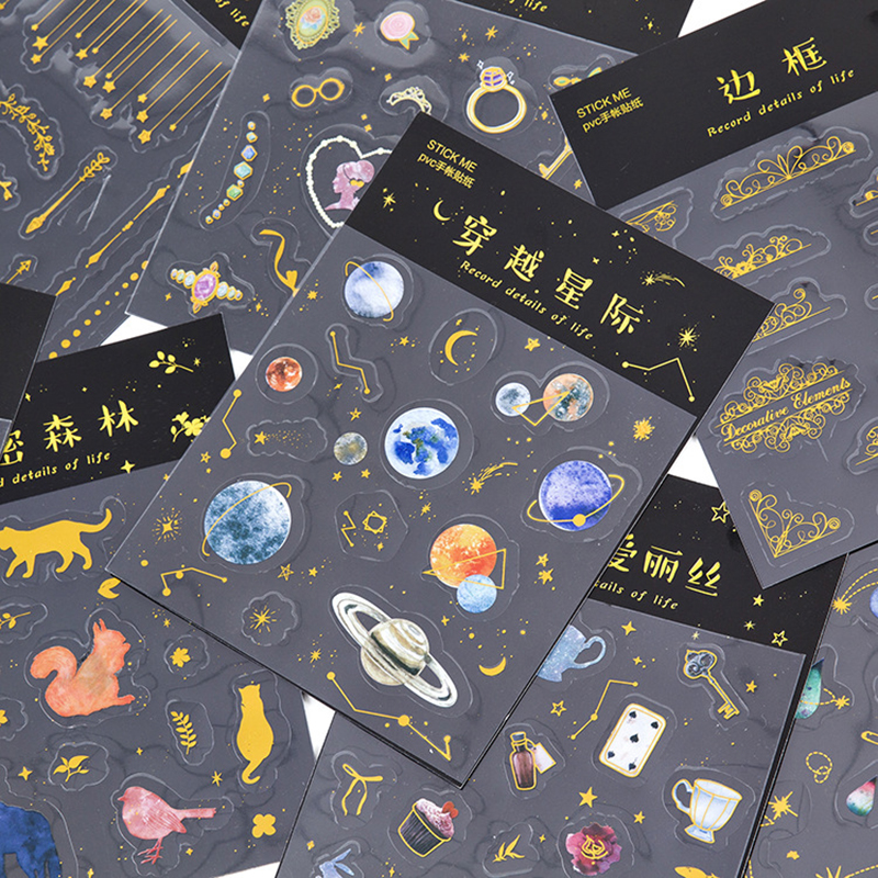 1pcs Cute Golden Planet Girl Animal PVC Decoration Stickers Diy Diary Scrapbooking Seal Sticker Stationery School Supplies 45pcs box cute animal crystal ball mini paper decoration stickers diy diary scrapbooking seal sticker stationery school supplies