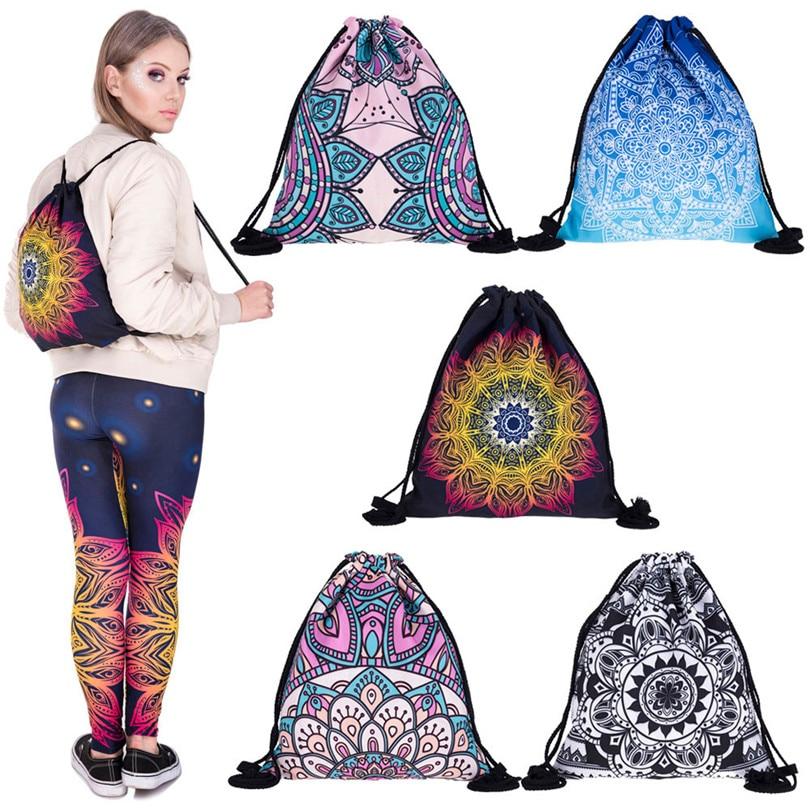 Echoshine Women Bags Mandala 3D Printing Bags Drawstring Backpack Drawstring Bags School Student Bags A30