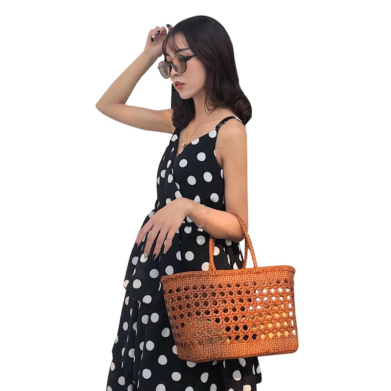 Country Style Handmade Women's White Knitted Basket Purse Large Hollow Handbag Genuine Cowhide Leather Lady Woven Portable Bag