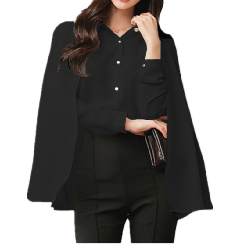 High Quality Fall 2017 Womens Work Wear Chiffon   Blouses   Capes Two Kimono   Blouses     Shirts   Tops Womens Clothes Red Black T77716A