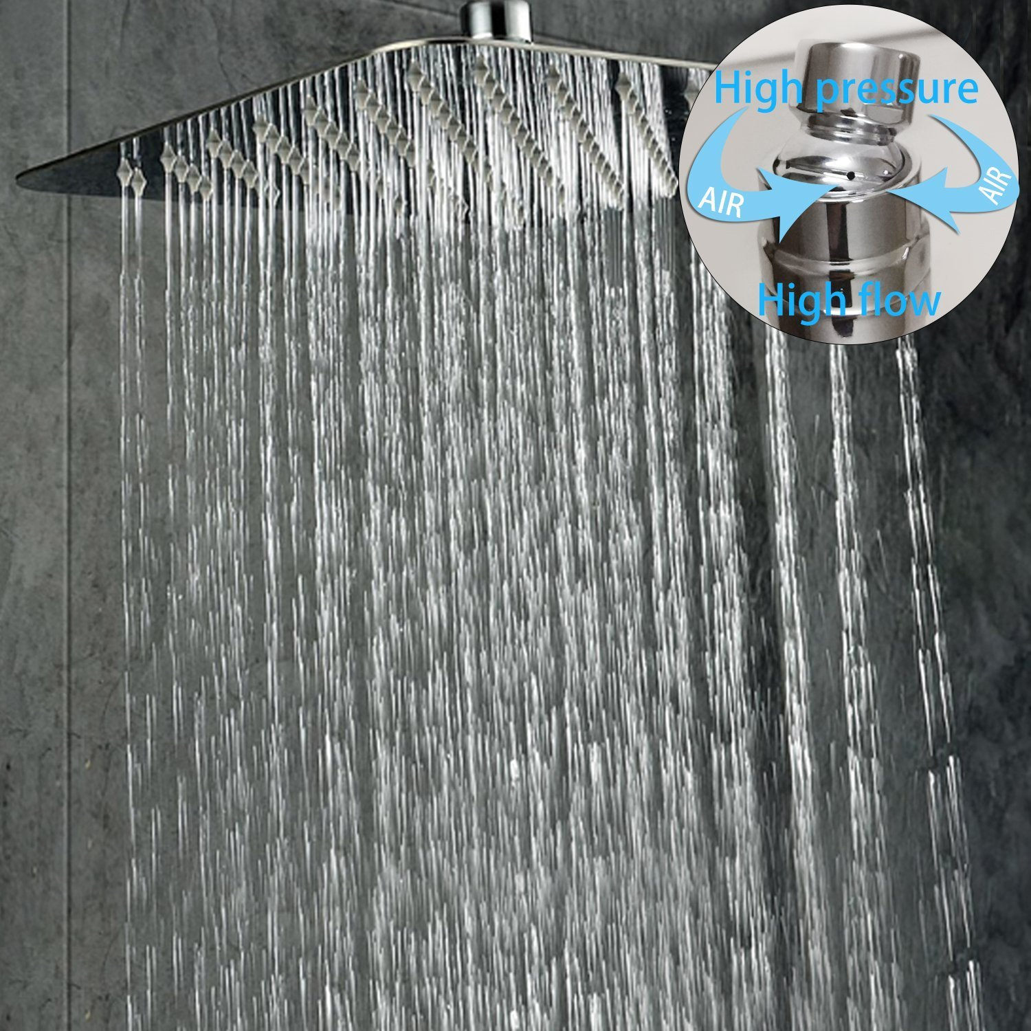 Us 98 69 45 Off Ceiling Mount Bathroom Rain Mixer Shower Combo Set Ceiling Install Rainfall Shower Head System Polished Chrome 16