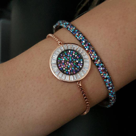 round disco charm micro pave baguette cubic zirconia cz rose gold color box adjust chain turkish teen girl gift eye braceletround disco charm micro pave baguette cubic zirconia cz rose gold color box adjust chain turkish teen girl gift eye bracelet