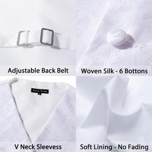Image 5 - Barry.Wang Mens Klassieke Witte Bloemen Jacquard Zijde Vest Vesten Zakdoek Party Bruiloft Tie Vest Suit Pocket Plein Set