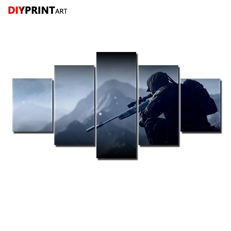 Sniper Soldiers 5 Pieces Game Paintings Wall Decor Battlefield 4 Modular Picture for Kids Room A1017