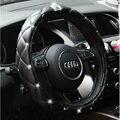 Strass Coroa de Cristal Coberto Mulheres Luxuoso Diamante PU volante de couro tampa da roda de direcção do carro Tampa da roda de 36-38 Cm