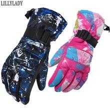 Winter -35 Thicken Gloves Keep warm tactical Men Women Children motion Windproof Waterproof Adjustable Climbing Snow Gloves