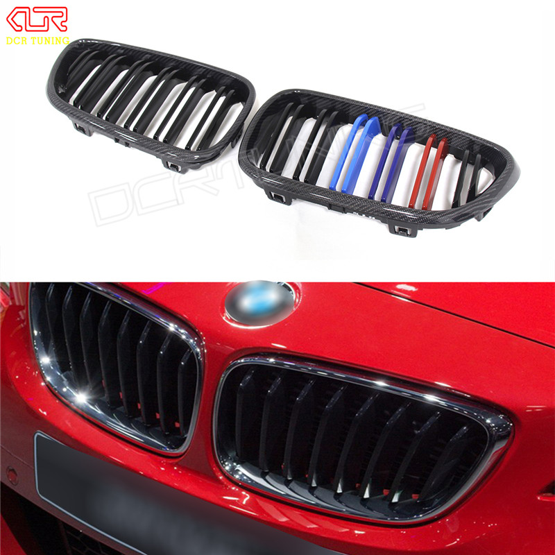 For BMW 2 Series F22 F23 Coupe & Convertible F87 M2 2014 - UP Dual Slats Front Grille Gloss Black Finish Carbon Fiber M Look bmw m3 e30 coupe