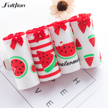3dc29eb4c9cb Fulljion 4pcs/lot Women Panties Cotton Briefs Mango Watermelon Fruit Print  Girls Underwear Ladies Panty Sexy Lingerie Underpants